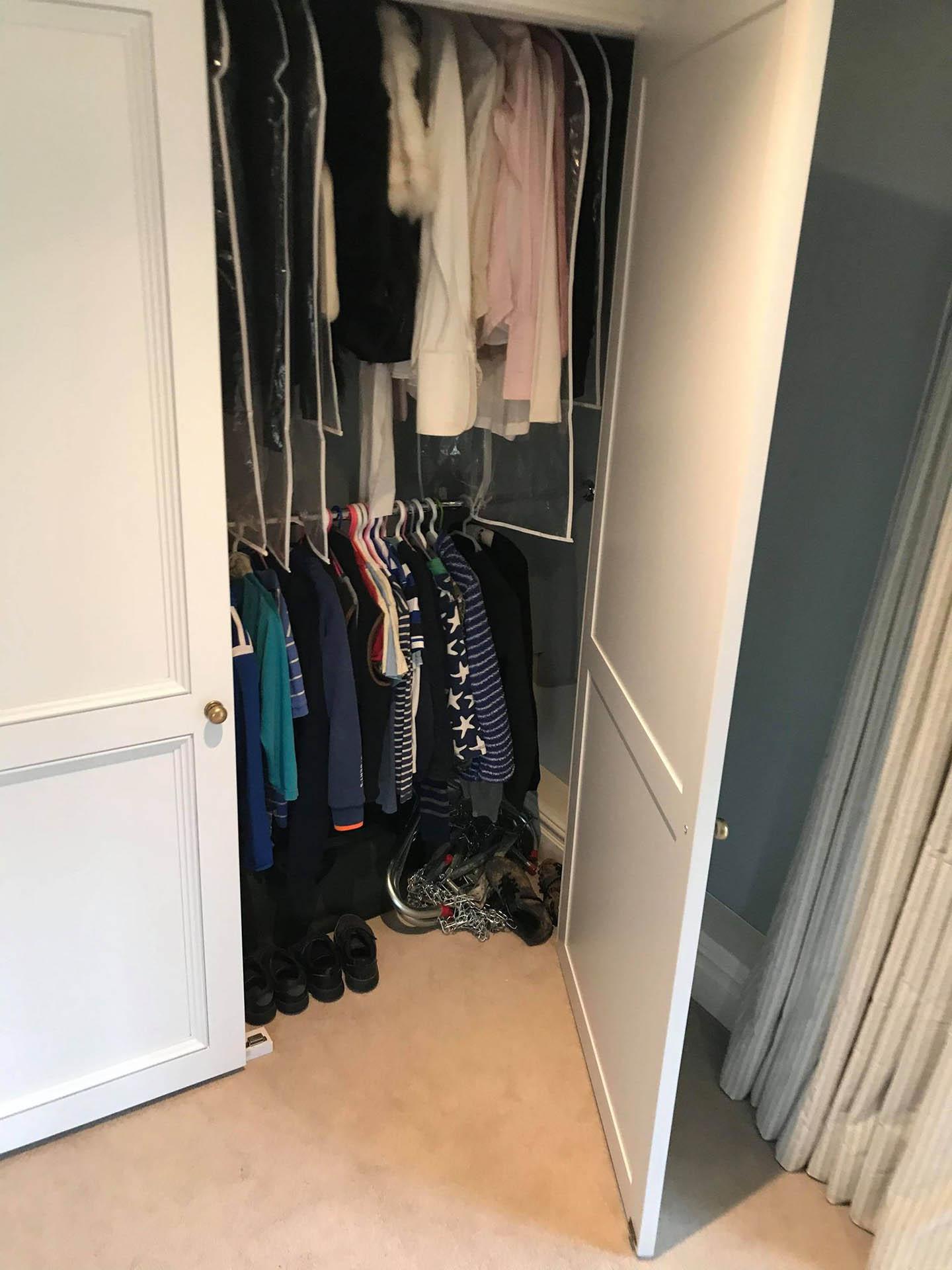 Bespoke bedroom wardrobe with the door open