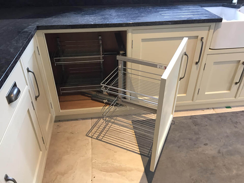 Hidden cupboard with racking