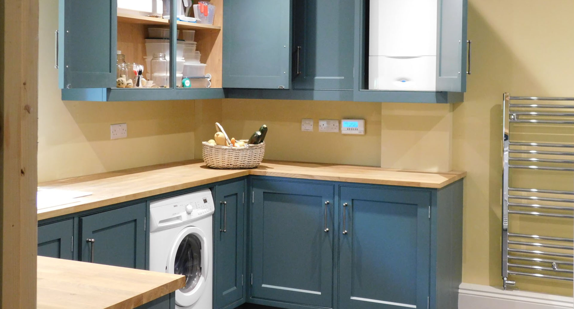 A dazzling utility room with yellow painted walls