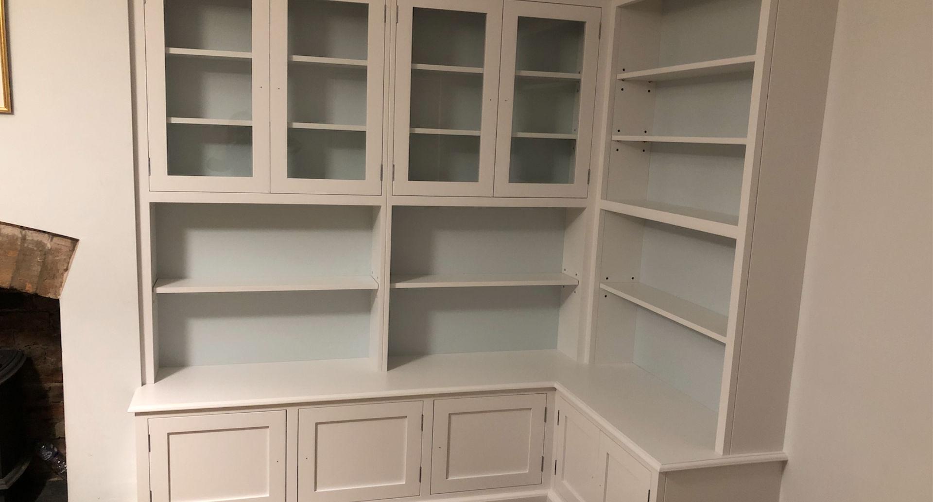 A bespoke corner bookcase.
