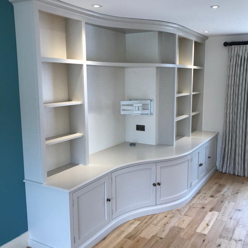 A bespoke, custom built bookcase.
