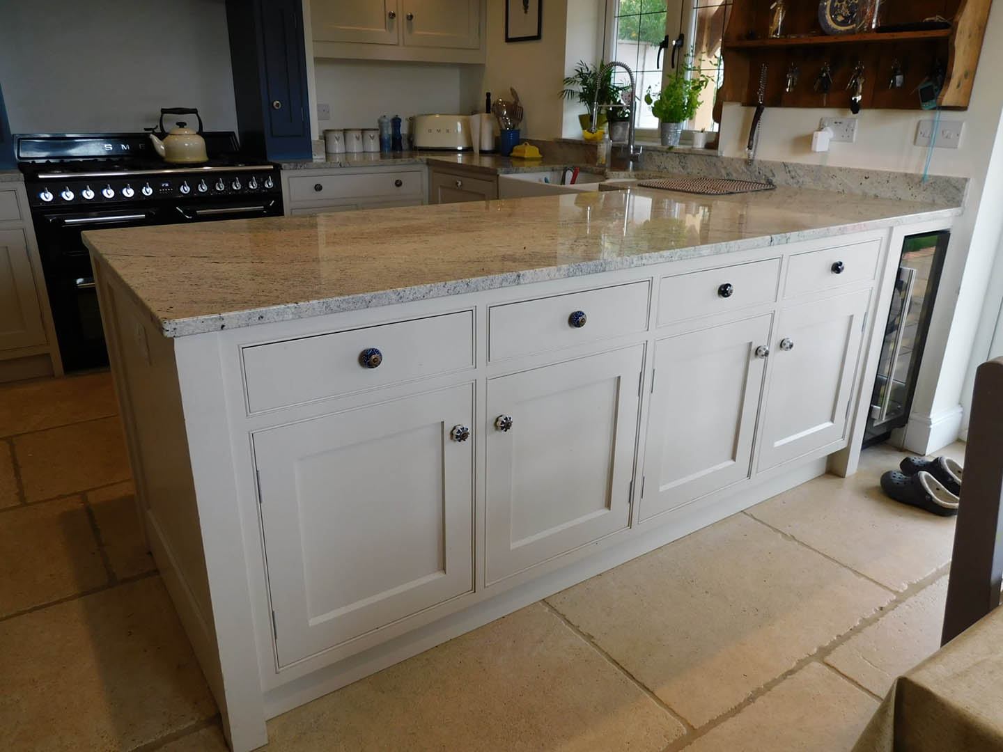 A row of kitchen cupboards